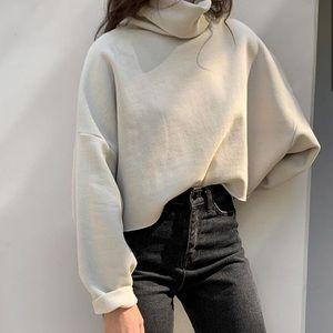 OAK + FORT Gray Turtleneck Oversized Sweatshirt
